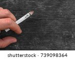young man holding a cigarette... | Shutterstock . vector #739098364