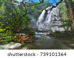 khlong lan waterfall  ... | Shutterstock . vector #739101364