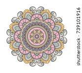 flower mandalas. vintage...   Shutterstock .eps vector #739101916