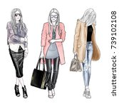 hand drawn fashion female sketch | Shutterstock . vector #739102108