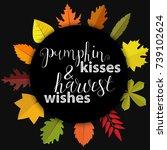 pumpkin kisses and harwest... | Shutterstock .eps vector #739102624