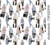 seamless hand drawn fashion... | Shutterstock . vector #739102954