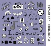 music symbols doodle set | Shutterstock .eps vector #739104268