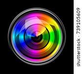 camera lens on black background | Shutterstock .eps vector #739105609