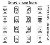smart phone icon set in thin... | Shutterstock .eps vector #739112128