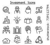 business investment icon set in ... | Shutterstock .eps vector #739112794