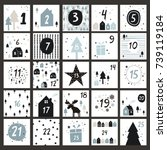 advent calendar in scandinavian ... | Shutterstock .eps vector #739119184