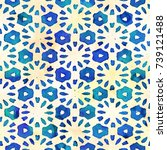 native batik watercolor... | Shutterstock . vector #739121488