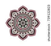 flower mandalas. vintage...   Shutterstock .eps vector #739122823