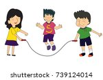 boy and girl playing jump rope  ... | Shutterstock .eps vector #739124014