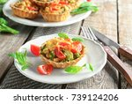 delicious crispy tart with... | Shutterstock . vector #739124206