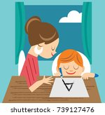 mother helping son with homework | Shutterstock .eps vector #739127476