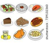 food icons colour. soup  steak  ... | Shutterstock .eps vector #739132360