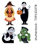 halloween set with four... | Shutterstock .eps vector #739132378