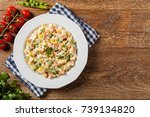traditional salad with cooked... | Shutterstock . vector #739134820