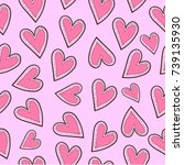 heart seamless pattern | Shutterstock .eps vector #739135930