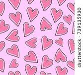 heart seamless pattern   Shutterstock .eps vector #739135930