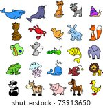 a set of icons animals  birds ... | Shutterstock .eps vector #73913650