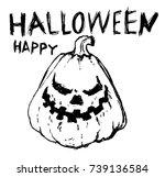 evil pumpkin  print on the...   Shutterstock .eps vector #739136584