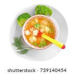 ceramic bowl with soup for baby ...   Shutterstock . vector #739140454
