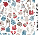 seamless pattern with cute... | Shutterstock .eps vector #739140520