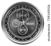 watch chronograph face on white ... | Shutterstock .eps vector #739145026
