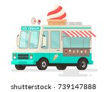ice cream truck on white... | Shutterstock .eps vector #739147888