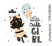 cute cat ballerina with... | Shutterstock .eps vector #739148080