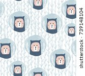 seamless pattern with cute bear ... | Shutterstock .eps vector #739148104