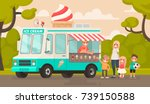 children and an ice cream truck ... | Shutterstock .eps vector #739150588