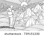 young backpacker standing on... | Shutterstock .eps vector #739151230