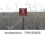 sign for minefields on the... | Shutterstock . vector #739152820