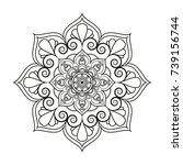flower mandala. vintage... | Shutterstock .eps vector #739156744