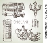hand drawn sketch england set.... | Shutterstock .eps vector #739157578