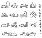 road accident icon set.... | Shutterstock .eps vector #739161730