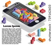 puzzle as a mobile application. ... | Shutterstock .eps vector #739162603