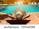 bikini woman sexy in pool... | Shutterstock . vector #739164589
