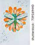 sketch of a dragonfly on orange ... | Shutterstock . vector #739169440