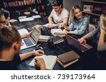 students are studying in... | Shutterstock . vector #739173964