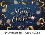 merry christmas and happy new... | Shutterstock .eps vector #739176166