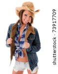 sexy cowgirl in hat  jacket and ... | Shutterstock . vector #73917709