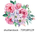 bouquet  rose flowers and white ... | Shutterstock . vector #739189129