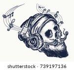 skull of the bearded hipster in ... | Shutterstock .eps vector #739197136