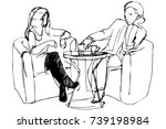 sketch of a young couple in a... | Shutterstock .eps vector #739198984