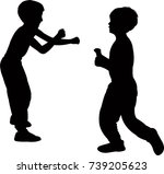 children fighting  silhouette... | Shutterstock .eps vector #739205623