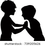 children fighting  silhouette... | Shutterstock .eps vector #739205626