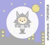 cute werewolf mask with boy in... | Shutterstock .eps vector #739205818