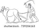 indian farmer line art | Shutterstock .eps vector #739206163