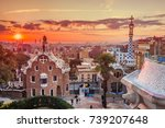 view of barcelone from the park ... | Shutterstock . vector #739207648