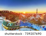 view of barcelone from the park ... | Shutterstock . vector #739207690